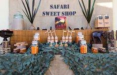 Safari Sweet Shop birthday party (love this idea!) by Sweet Tables by Chelle featured on Amy Atlas