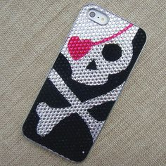 Handmade Case for iPhone 4/4S: Skull Head with Pink Heart Eyeshade