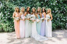 robes_pastel_demoiselle_d_honneur_pastel_bridesmaids_dresses - Debra Bono Pastel Bridesmaid Dresses, Beautiful Bridesmaid Dresses, Bridesmaid Flowers, Dream Wedding Dresses, Wedding Bridesmaids, Pastel Dresses, Maxi Dresses, Wedding Trends, Boho Wedding