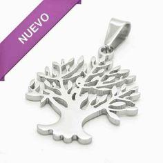 Joyas de Acero-Colgantes-PA0318. árbol de vida , símbolo de estabilidad, largo 4 cm