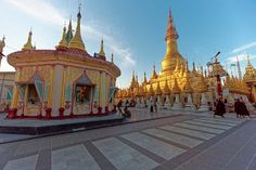 The glittering gold Shwesandaw Pagoda in Pyay, Myanmar, is even bigger than the famous Shwedagon Pagoda in Yangon! Said to contain the Buddha's hair, it's less touristy too. Shwedagon Pagoda, Original Travel, Yangon, Travel Tours, Photo Essay, Pilgrimage, Travel Photos, Cruise