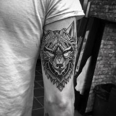 geometric tattoo wolf