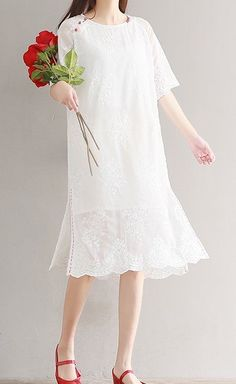 Women loose fit over plus size flower lace ethnic dress white tunic fashion  #Unbranded #dress #Casual