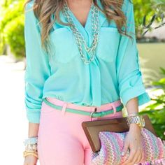 Pastels. Love the outfit. From the sheer button down, to the high waist pale pink skinnies, to the thin belt and statement making clutch.