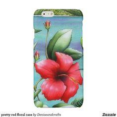 pretty red floral case