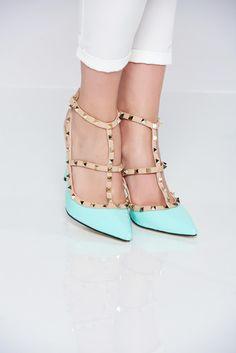 Comanda online, Pantofi cu toc inalt mint cu tinte metalice. Articole masurate, calitate garantata!