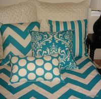 chevron & damask bedding @ Juxtapost.com love the mix of prints!