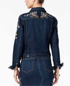 Buffalo David Bitton Floral Embroidered Denim Jacket - Jackets - Women - Macy's