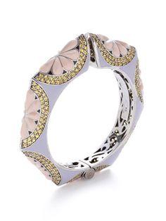Rina Limor Lavender Multi & Yellow Sapphire Geometric Floral Bangle Bracelet