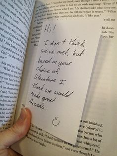 A surprise note left in a book. Have you left a note for a stranger in a book? If not, would you? http://writersrelief.com/