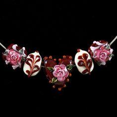 pink flower white heart lampwork glass bead mum pinterest pink flower and glasses