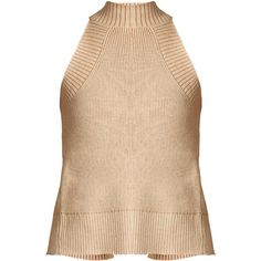 Palmer//harding Open-back ribbed cotton and lurex-blend top ($271) ❤ liked on Polyvore featuring tops, high neckline tops, ribbed top, cut out shoulder top, beige top and cut loose tops