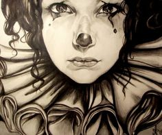 "Saatchi Online Artist: Priscilla Ainhoa Griscti; Pencil, Drawing ""'Priscilla as Pierrette'"""