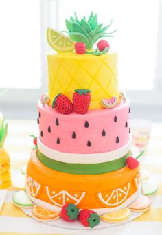 Fruity Birthday Party: Blakely Turns Fruit Themed Birthday Cake for Twotti Fruity Party!Fruit Themed Birthday Cake for Twotti Fruity Party! Happy Birthday Kuchen, Fruit Birthday Cake, Themed Birthday Cakes, Birthday Cake Girls, Themed Cakes, Birthday Parties, Theme Parties, Pretty Birthday Cakes, Birthday Woman