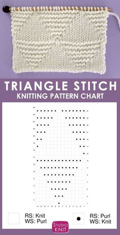 Knitting Chart of the Large Stacked Triangle Stitch Knitting Pattern. This design creates interconnected Stockinette and Garter Stitch shapes. Make this texture with a simple combination of knits and purls in a Repeat. Knitting Stiches, Loom Knitting Patterns, Knitting Charts, Knitting Projects, Hand Knitting, Stitch Patterns, Crochet Patterns, Knitting Tutorials, Knit Stitches