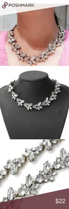 Crystal flower choker necklace Gorgeous flower crystal necklace. Has a extra chain extension to make larger. Secure clasp Jewelry Necklaces