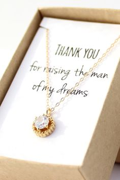 """Thank you for raising the man of my dreams"" Mother-in-law gift cubic zirconia solitaire necklace"