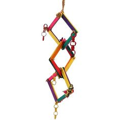 Hoopla Chewable Parrot Toy Fun agility toy your bird can chew, crunch and shred.  Hang this Hoopla Parrot toy in your bird`s cage and watch as they explore all the fun natural materials attached to the different hoops.  Crunchy vine rings, shreddable woven palm leaf and chewable wood stars, all attached with sisal rope to preen.  Each Hoop has been made using brightly coloured wood pieces to intrigue your feathered friend and encourage them to climb around and through the different levels.
