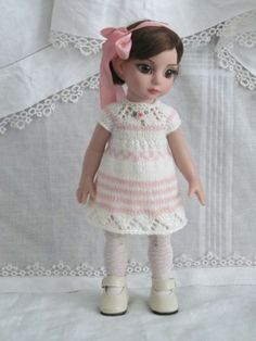 "Patsy Anne Estelle Tonner 10"" OOAK hand knit pink and cream dress set by JEC"