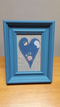 Upcycled Frame with applique cotton heart on linen. Pleasing to make.