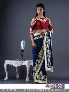 Looking for designer blouse patterns for sarees? Here are 15 most flattering models that will go well with any saree. Do try them and look chic. Indian Designer Sarees, Latest Designer Sarees, Indian Sarees, Art Silk Sarees, Georgette Sarees, Lehenga Choli, Fancy Sarees, Party Wear Sarees, Sari Blouse