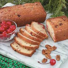 Cherry Nut Bread Recipe- Recipes Chopped pecans and maraschino cherries perk up this pound cake-like bread. The pretty slices are rich and moist with a crisp golden crust. This is my husband's favorite bread. Nut Bread Recipe, Yeast Bread Recipes, Cherry Bread, Just Desserts, Cherry Desserts, Holiday Desserts, Holiday Recipes, Bread Rolls, Recipes