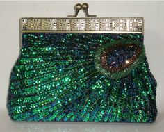 PEACOCK feathers Pattern beaded Sequin Evening BAG (Green): Handbags: Amazon.com