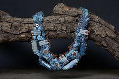 Jeans ecologico riciclato tessile gioielli collana di rRradionica  98€
