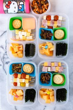 Little lunch skewers with a variety of ham, cheeses, tomatoes, and cucumbers, depending on who likes what.  Packed in @EasyLunchboxes containers