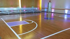 Bleacher seating and a basketball court dance floor. #barmitzvah
