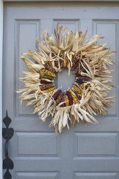 easy wreath using Indian corn
