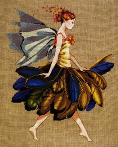 Feather Fairy Mirabilia counted cross stitch pattern Nora Corbett chart MD83 #Mirabilia