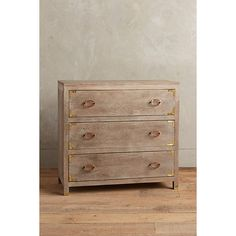 Portside Three-Drawer Dresser (3,240 SAR) ❤ liked on Polyvore featuring home, furniture, storage & shelves, dressers, three drawer dresser and 3 drawer dresser