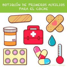 Botiquín de Primeros Auxilios de Coche Nurse Party, Cutting Activities, Diy And Crafts, Crafts For Kids, Medical Symbols, The Doctor, Kawaii Doodles, Band Aid, Get Well Cards
