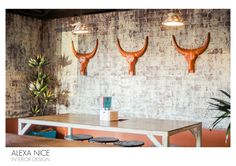 WHAT ONCE WAS RED BRICK IS NOW AN AGED WHITE FINISH WALL, HAND PAINTED BY ALEXA NICE INTERIOR DESIGN.  WITH A COMPLIMENTING COLOUR SCHEME, DRAWING INSPIRATION FROM THE RICHNESS OF THE MEXICAN LANDSCAPE. RECYCLED COLANDERS WITH RUSTIC STEEL AND TIMBER FURNITURE FINISH THE CANTINA'S INTERIOR SPECTACULARLY. PHOTO BY JON BAGINSKI