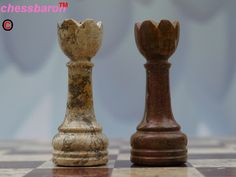 Beautiful Hand Crafted Fossil and Coral Chess Set - Beautiful 16 Inch Marble Chess Board and Case Included - (0)1278 426100 at chessbaron.co.uk Makes a wonderful gift idea! Each piece is unique!