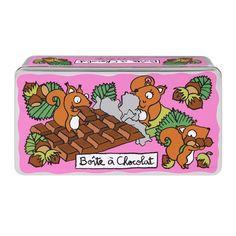 Boîte à chocolat Ecureuil rose - Derrière la Porte - DLP - Accessoire cuisine et rangement/Boîte métal et céramique - espritlogis-fr