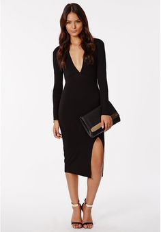 Chelsi Jersey Side Split Midi Dress Black