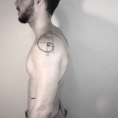 60 Fibonacci Tattoo Designs For Men - Spiral Ink Ideas- 60 Fibonacci Tattoo Designs For Men – Spiral Ink Ideas Shoulder And Rib Cage Mens Fibonacci Spiral Black Line Tattoo - Great Tattoos, Trendy Tattoos, Beautiful Tattoos, Body Art Tattoos, New Tattoos, Tattoos For Guys, Tatoos, Fibonacci Tattoo, Golden Ratio Tattoo