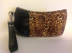 Color blocked faux leather and leopard print Coraline wristlet with removable strap great gift for her (22.00 USD) by PenguinPouches