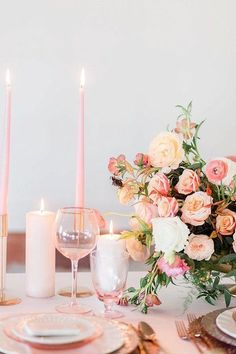 Coral, pink, peach, and blush wedding inspiration with rose gold accents – Wedding Centrepieces Blush Wedding Flowers, Pink And Gold Wedding, Floral Wedding, Wedding Colours, Wedding Bouquets, Long Table Wedding, Wedding Table Settings, Wedding Stage, Summer Wedding