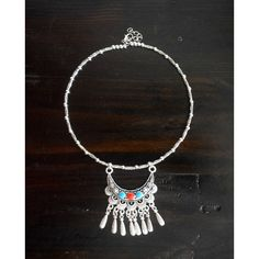 Traditional Indian statement Silver plated Boho necklace Bollywood... (47 CAD) via Polyvore featuring jewelry, necklaces, multi colored statement necklace, tribal necklace, multicolor statement necklace, peace sign necklace and indian necklace