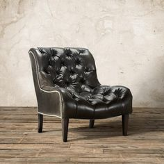 Cecilia Tufted Leather Armless Chair In Libby Smoke | Arhaus