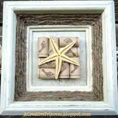 creative framing idea that includes scrapbook paper, wine corks and twine. omg love!