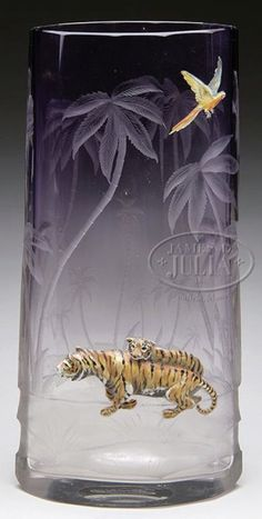 Moser Glass; Vase, Tigers & Flying Parrot, Intaglio Carved, Clear to Amethyst, 11 inch.