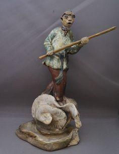 Antique Shiwan Monkey King Sun Wukong Roof Ridge Ornament   eBay