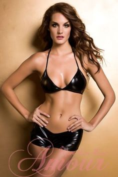 Sexy Blk Wetlook Bikini Top +Boyshorts Stripper @HY3027 8.5