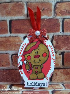 Christmas Gift Tag: Bobblehead Christmas - Gingerbread from Bugaboo Stamps.