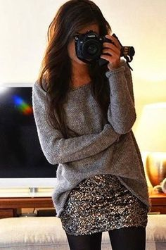 love this sweater over a sparkly sequin skirt.