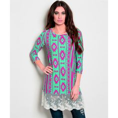 Small - Hot Pink & Mint Aztec Arrow & Lace Tunic Top